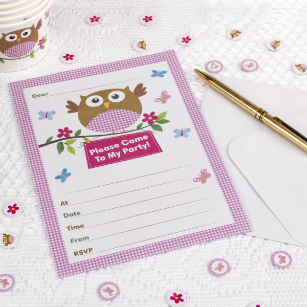 Little Owls Pink Invitations (10)